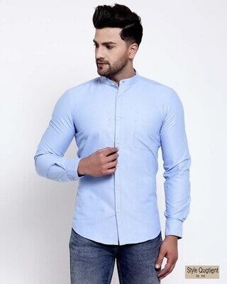 Shop Style Quotient Mens Blue Solid Shirt-Front