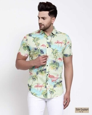 Shop Style Quotient Mens Green Floral Print Shirt-Front
