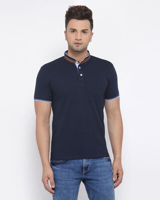 Shop Style Quotient Mens Navy Blue Short Sleeves Casual Tshirt-Front