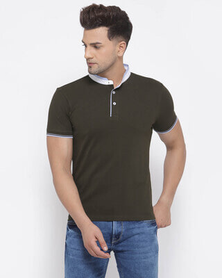 Shop Style Quotient Mens Olive Short Sleeves Casual Tshirt-Front