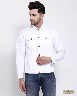 Shop Style Quotient Mens Solid Denim Jackets-Front