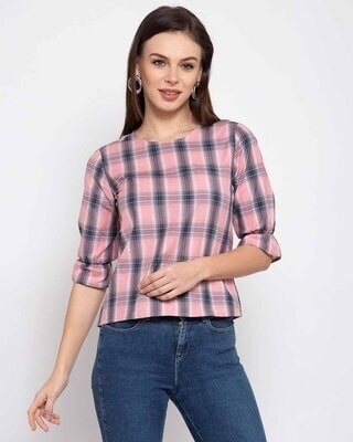 Shop Style Quotient Multicoloured Checked Bell Sleeves Top-Front