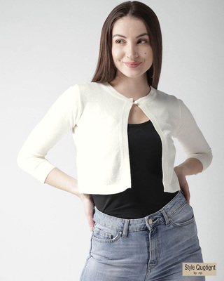 Shop Style Quotient Off-White Solid Crop Shrug-Front