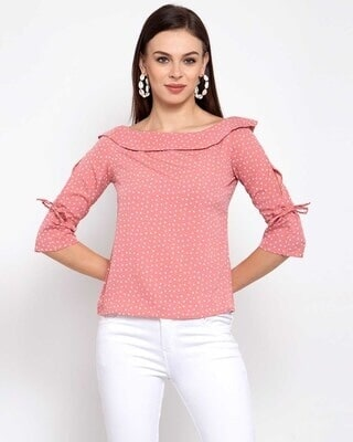 Shop Style quotient Pink Printed Top-Front