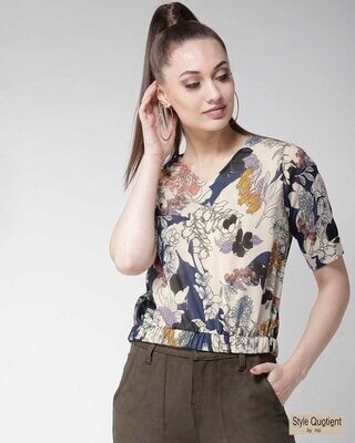 Shop Style Quotient Women Beige & Navy Blue Floral Print Blouson Top-Front
