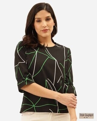 Shop Style Quotient Women Black & Green Abstract Print Regular Top-Front