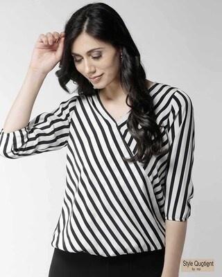 Shop Style Quotient Women Black & Off-White Striped Wrap Top-Front