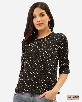 Shop Style Quotient Women Black & White Polka Dot Print Regular Top -Front