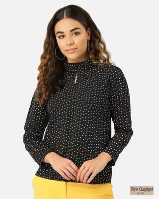 Shop Style Quotient Women Black & White Polka Dot Print Top-Front