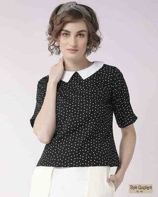 Shop Style Quotient Women Black & White Printed Regular Top-Front