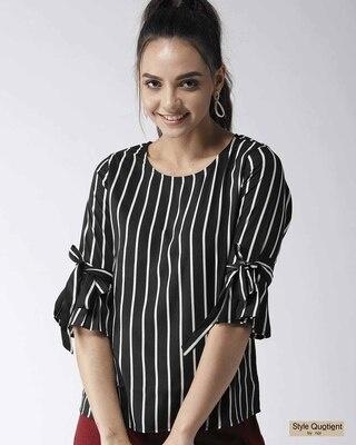Shop Style Quotient Women Black & White Striped Top-Front
