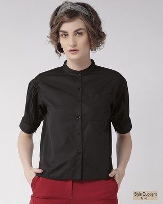 Shop Style Quotient Women Black Comfort Boxy Fit Solid Casual Shirt-Front