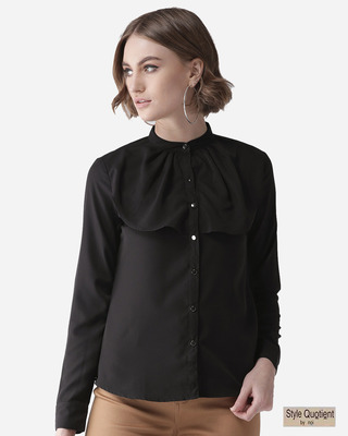 Shop Style Quotient Women Black Contemporary Solid Smart Casual Shirt-Front