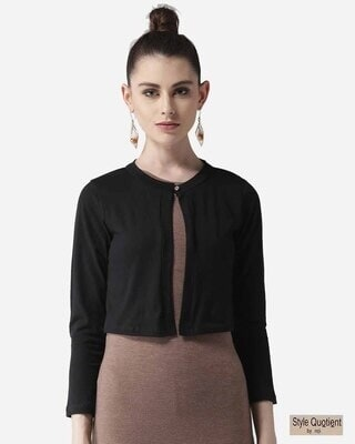Shop Style Quotient Women Black Solid Crop Button Shrug-Front