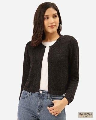 Shop Style Quotient Women Black Solid Open Front Shrug-Front