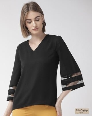 Shop Style Quotient Women Black Solid Top-Front