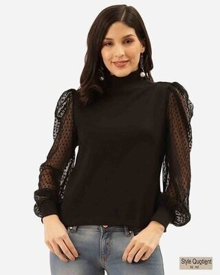 Shop Style Quotient Women Black Solid Victorian Winter Top-Front