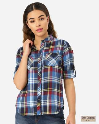 Shop Style Quotient Women Blue & Maroon Twill Weave Checked Casual Shirt-Front