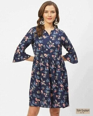 Shop Style Quotient Women Blue & Pink Floral Print A-Line Dress-Front
