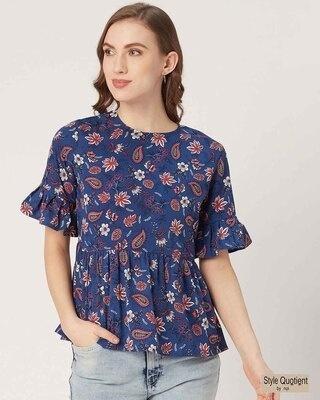 Shop Style Quotient Women Blue & Pink Floral Print A-Line Top-Front