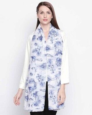 Shop Style Quotient Women Blue & White Printed Stole-Front