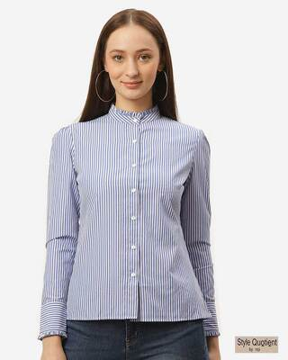 Shop Style Quotient Women Blue & White Standard Striped Smart Casual Shirt-Front
