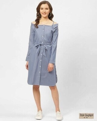 Shop Style Quotient Women Blue & White Striped A-Line Shirt Dress-Front