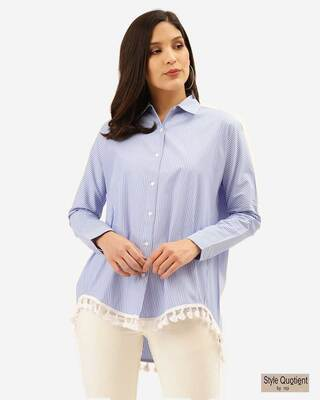 Shop Style Quotient Women Blue & White Striped Shirt-Front