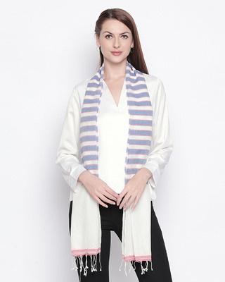 Shop Style Quotient Women Blue & White Striped Stole-Front