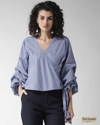 Shop Style Quotient Women Blue & White Striped Wrap Top-Front