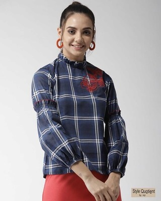 Shop Style Quotient Women Blue Checked Top-Front