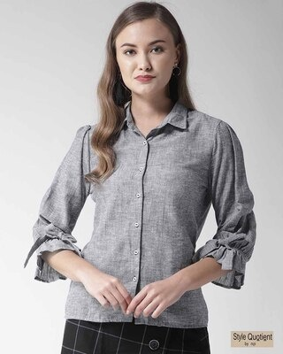 Shop Style Quotient Women Blue Classic Fit Solid Casual Shirt-Front
