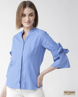 Shop Style Quotient Women Blue Classic Regular Fit Solid Casual Shirt-Front