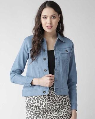 Shop Style Quotient Women Blue Solid Denim Jacket-Front