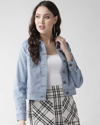Shop Style Quotient Women Blue Solid Denim Jacket-Front