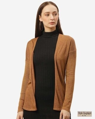 Shop Style Quotient Women Brown Solid Open Front Shrug-Front
