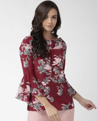 Shop Style Quotient Women Burgundy & Olive Green Floral Print Top-Front