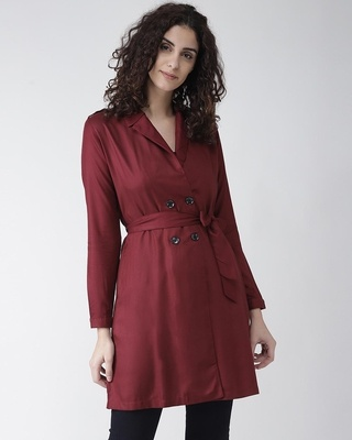 Shop Style Quotient Women Burgundy Solid Double-Breasted Overcoat-Front
