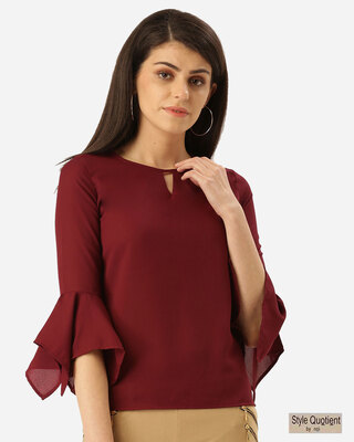Shop Style Quotient Women Burgundy Solid Top-Front