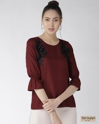 Shop Style Quotient Women Burgundy Solid Top with Applique Detail-Front