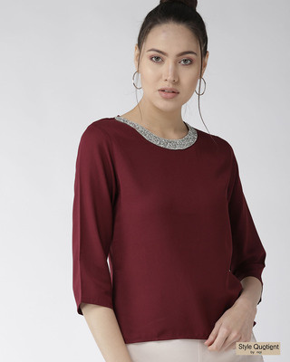 Shop Style Quotient Women Burgundy Solid Top with Embellished Detail-Front