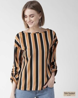 Shop Style Quotient Women Camel Brown & Black Striped Regular Top-Front