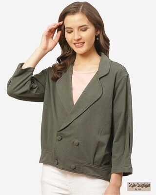 Shop Style Quotient Women Charcoal Grey Solid Lightweight Double-Breasted Tailored Jacket-Front