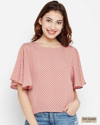 Shop Style Quotient Women Dusty Pink & White Checked Top-Front