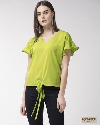Shop Style Quotient Women Fluorescent Green Solid Top-Front