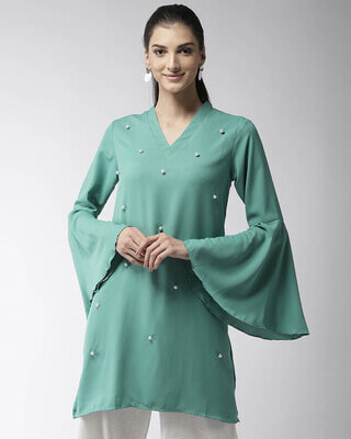 Shop Style Quotient Women Green Beaded A-Line Kurta-Front