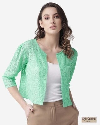 Shop Style Quotient Women Green Lace Open Front Shrug-Front