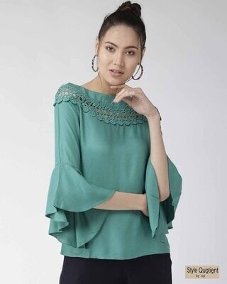 Shop Style Quotient Women Green Solid A-Line Top-Front