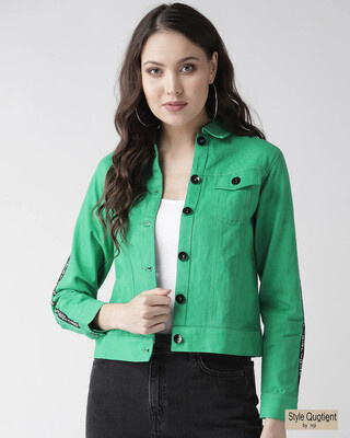 Shop Style Quotient Women Green Solid Denim Jacket-Front