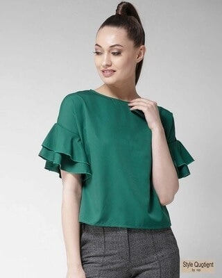 Shop Style Quotient Women Green Solid Top-Front